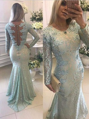 Crew Sweep-train Long Sleeves Lace Beads Appliques Mermaid Prom Dresses_2