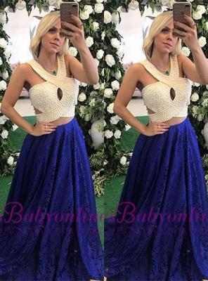 Long Lace Pearls Elegant Sleeveless Evening Dresses_2