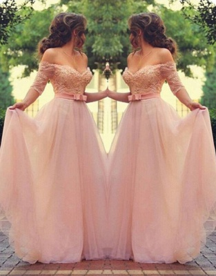 Elegant Pink Prom Dresses Off-the-Shoulder Beaded A-line Evening Gowns_1