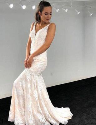Elegant A-Line V-Neck Lace Applique Sleeveless White Evening Dress_1