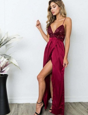 Sexy A-Line Spaghetti Straps V-Neck Sequins Burgundy Prom Dress_6