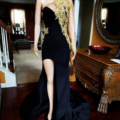 Front-slit Appliqued Black Mermaid Prom Dresses with Long Sleeves_1