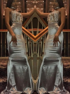 Halter Mermaid Backless Prom Dresses | Long Lace Sleeveless Evening Dresses_2