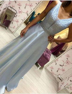 Elegant  A-Line Beading V-Neck Sleeveless Floor-Length Prom Dress_4