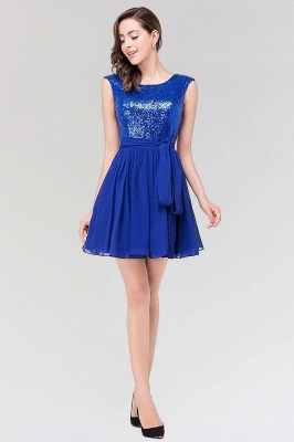 A-line  Square Sleeveless Bow Ruffles Mini Bridesmaid Dress with Sequins_4