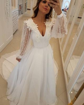 Fashion Long Sleeves Beading  A-Line Flower Wedding Dress_1