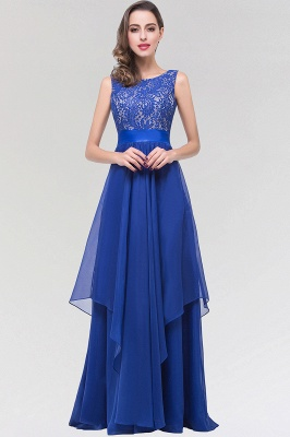 A-line  Lace Jewel Sleeveless Floor-length Bridesmaid Dresses_1