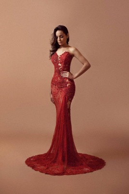 Sexy Red Lace Beading Prom Dresses | Sleeveless Mermaid Evening Gowns_1