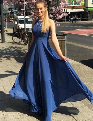 Charming A-Line Jewel Sleeveless  Floor-Length Prom Dress_1