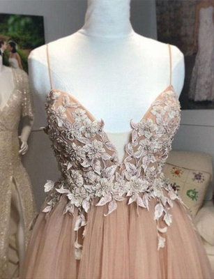 Fashion  Champagne Spaghetti Straps A-Line Applique Prom Dress_3