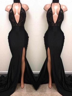 Halter V-neck Long Prom Dresses | Black Sleeves Slit Evening Gowns_2