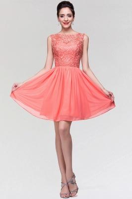 A-Line  Lace Scoop Sleeveless Ruffles Mini Bridesmaid Dress_4