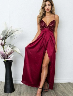 Sexy A-Line Spaghetti Straps V-Neck Sequins Burgundy Prom Dress_4