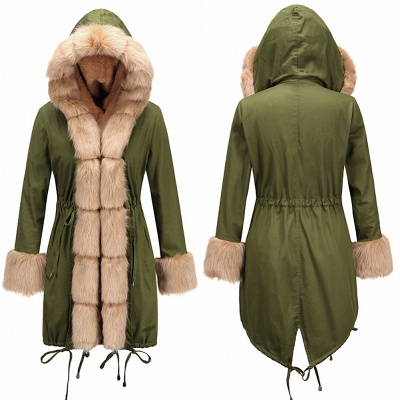 Hunt Camo Military Parka Coat with Premium Brown Fur Trim_9