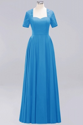 A-Line Chiffon Bridesmaid Dresses | Sweetheart Cap Sleeves Lace Wedding Party Dresses_17