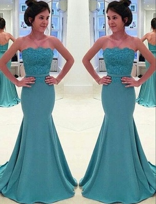 Lace Appliques Long Sash Sexy Mermaid Green Strapless Evening Gowns_2