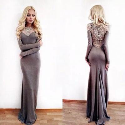 Charming Sheath Jewel Long Sleeves Appliques Prom Dress_3