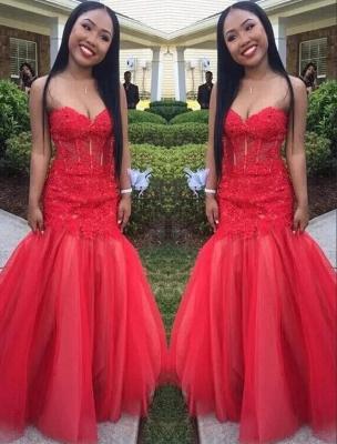 Floor-Length Tulle Sweetheart Red Mermaid Lace Sleeveless Prom Dresses_2