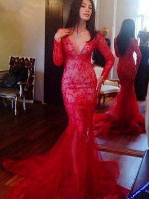 Red Long-Sleeves Appliques  Sexy Mermaid Prom Dress_2
