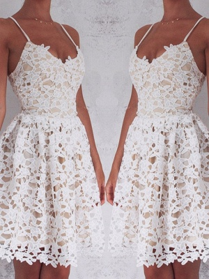2019 Short Lace Homecoming Dresses Spaghettis Straps Mini Party Dresses_2