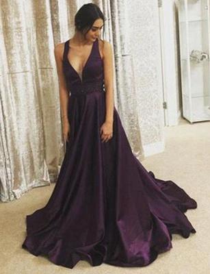 Stunning  A-Line V-Neck Sleeveless Floor-Length Prom Dress_1