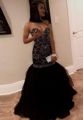 Sweetheart Strapless Mermaid Prom Dresses | Beading Tulle Black Evening Gowns_2