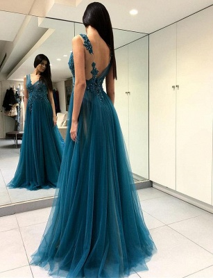 Charming V-Neck Split Front A-Line Appliques Blue  Prom Dress_1