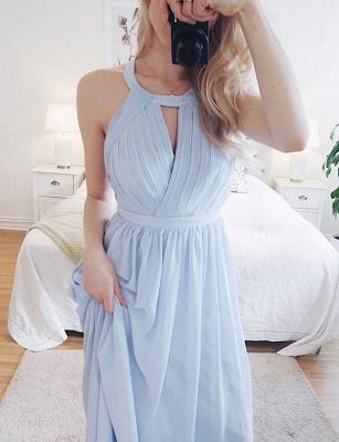 Simple Sky Blue A-Line Jewel Sleeveless Halter Long Prom Dress_3