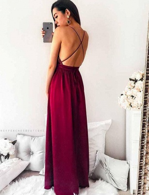 Sexy A-Line Spaghetti Straps V-Neck Sequins Burgundy Prom Dress_3