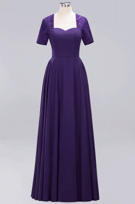 A-Line Chiffon Bridesmaid Dresses | Sweetheart Cap Sleeves Lace Wedding Party Dresses_12