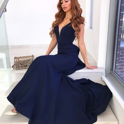 V-Neck Sleeveless Backless Mermaid Court Train Evening Dresses_3