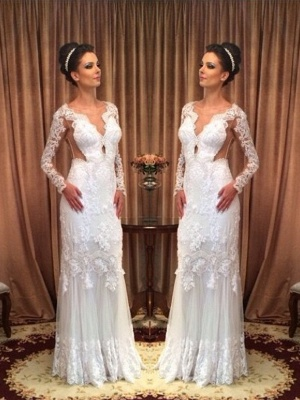 Lace White Long Sleeves Floor-length Sheath Style Wedding Dress_2