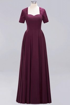 A-Line Chiffon Bridesmaid Dresses | Sweetheart Cap Sleeves Lace Wedding Party Dresses_13
