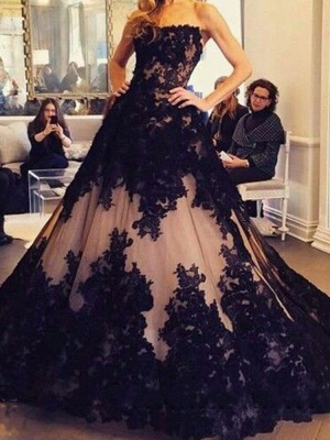 Ball-Gown Tulle Black Strapless Lace New Sleeveless Evening Dresses_2