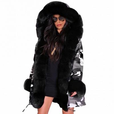 Grey Camo Military Parka Coat with Premium Fur Trim_7