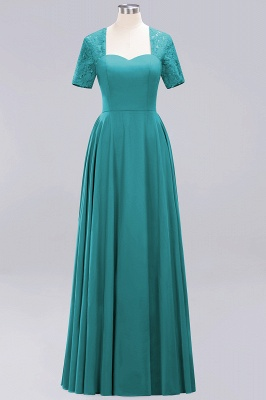 A-Line Chiffon Bridesmaid Dresses | Sweetheart Cap Sleeves Lace Wedding Party Dresses_22