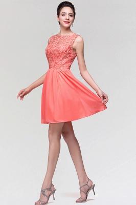 A-Line  Lace Scoop Sleeveless Ruffles Mini Bridesmaid Dress_5