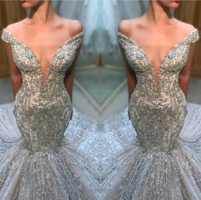 Charming Off-the-Shoulder Tulle Beaded Sexy Mermaid Wedding Dress BC2707_3