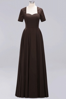 A-Line Chiffon Bridesmaid Dresses | Sweetheart Cap Sleeves Lace Wedding Party Dresses_7