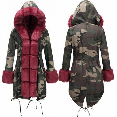 Camo Military Parka Coat with Premium Burgundy Fur Trim_8
