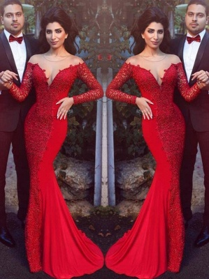 2019 Red Mermaid Prom Dresses Long Sleeves Lace Formal Evening Gowns_2