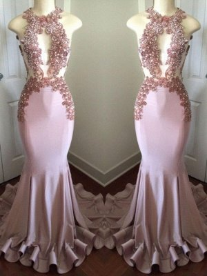 Sparkly Long Mermaid Prom Dresses | Sleeveless Keyhole Neck Evening Gowns_2
