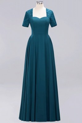 A-Line Chiffon Bridesmaid Dresses | Sweetheart Cap Sleeves Lace Wedding Party Dresses_18