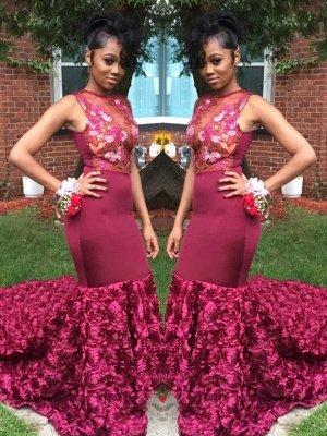 Amazing Burgundy Mermaid Prom Dresses with Rose Flowers Skrit_2