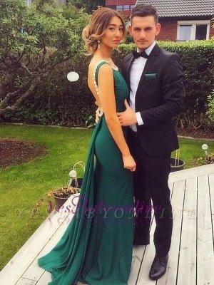 Backless Sheath Green Scoop Peals Elegant Evening Dress_2