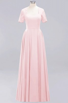 A-Line Chiffon Bridesmaid Dresses | Sweetheart Cap Sleeves Lace Wedding Party Dresses_2