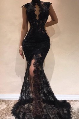 Sexy Black Lace Mermaid Evening Dresses | High Keyhole Neck Sheer Slit Prom DressesBC0513