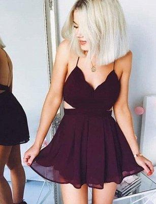 Sexy A-Line V-Neck Spaghetti Straps Mini Homecoming Dress_1