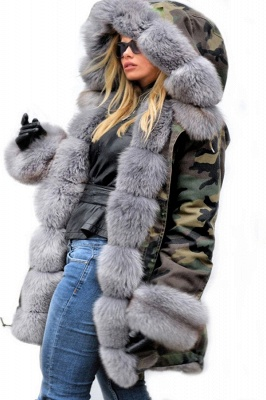 Camo Military Parka Coat with Premium Burgundy Fur Trim_4