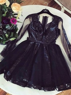 Sexy A-Line Homecoming Dresses | V-Neck Long Sleeves Sequins Cocktail Dresses_2